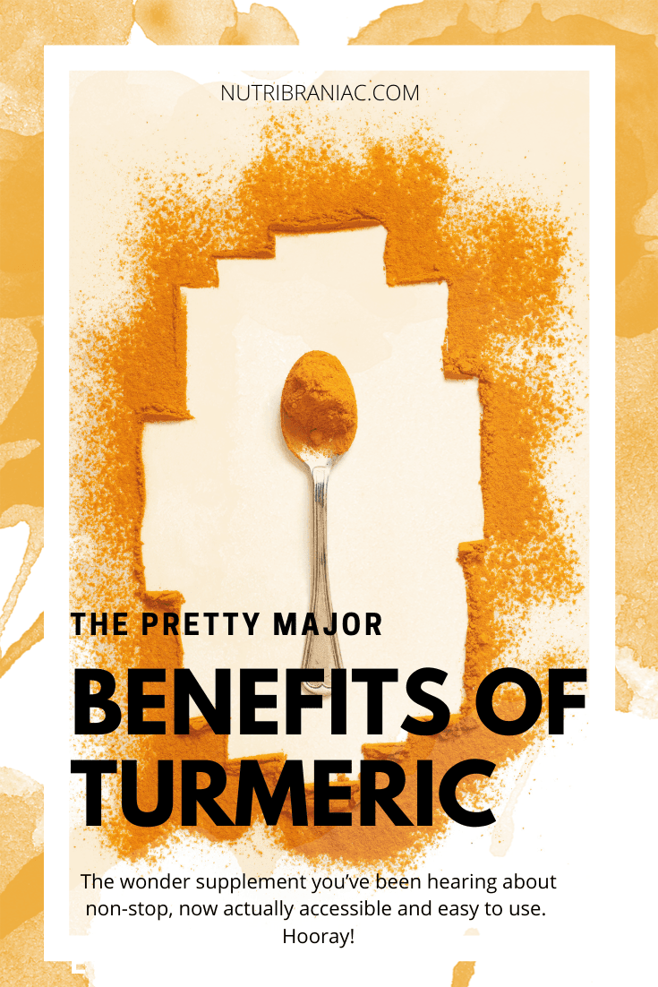 "Graphic image of turmeric powder on a spoon with graphic overlay ""The Pretty Major Benefits of Turmeric"""