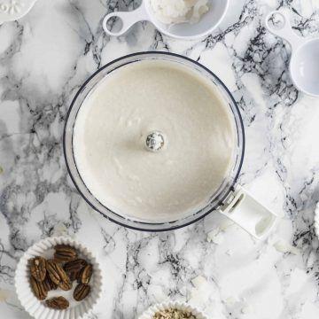 Coconut cream in a food processor blender