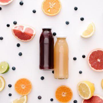 Juice in glass bottles