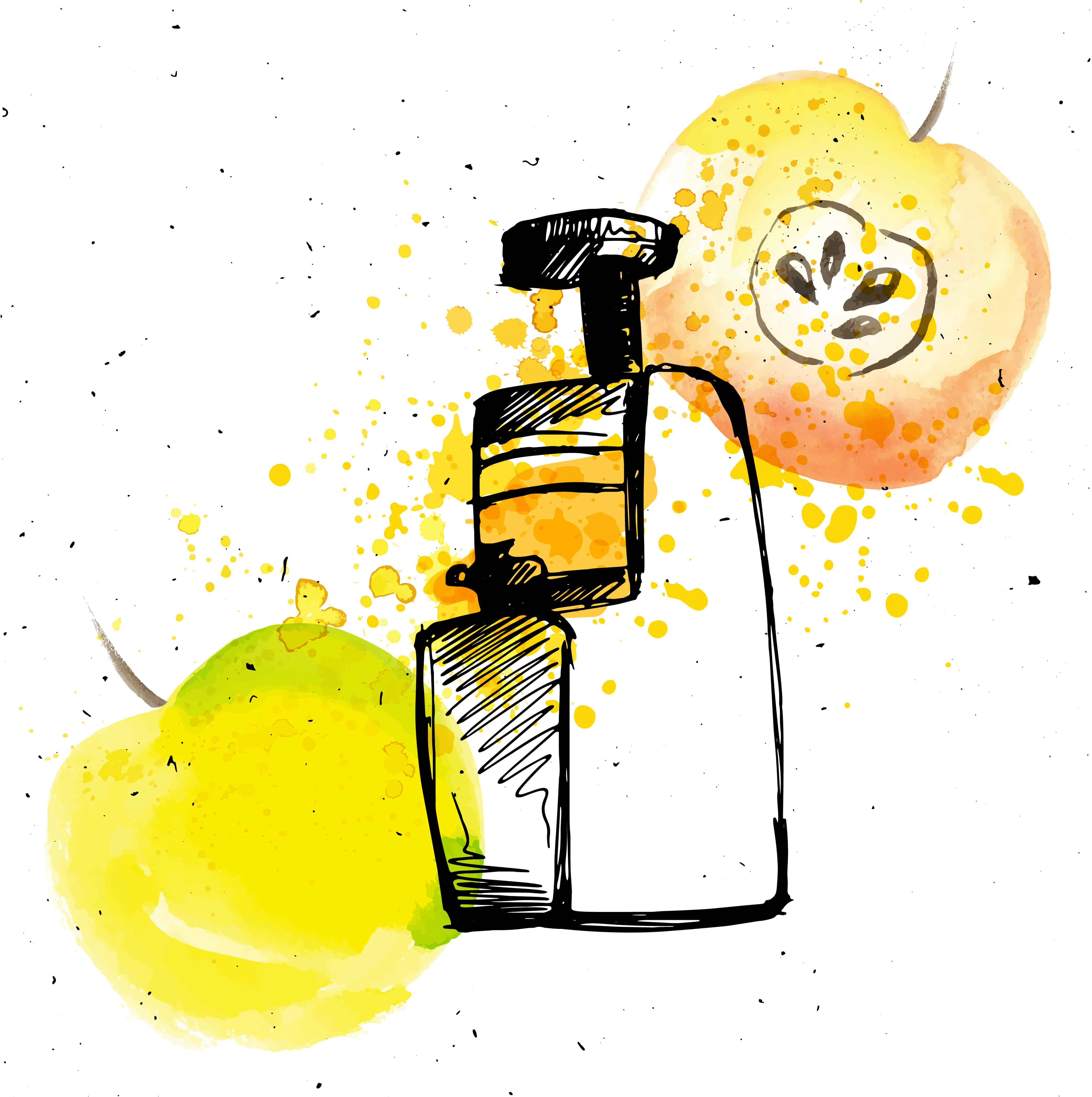 Masticating Juicer with apple. Apple juice with juicer and splashes, sketch hand draw illustration with watercolor elements