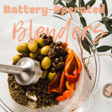 Hand held blender mixing ingredients in a bowl with words Battery-Operated Blenders above the image