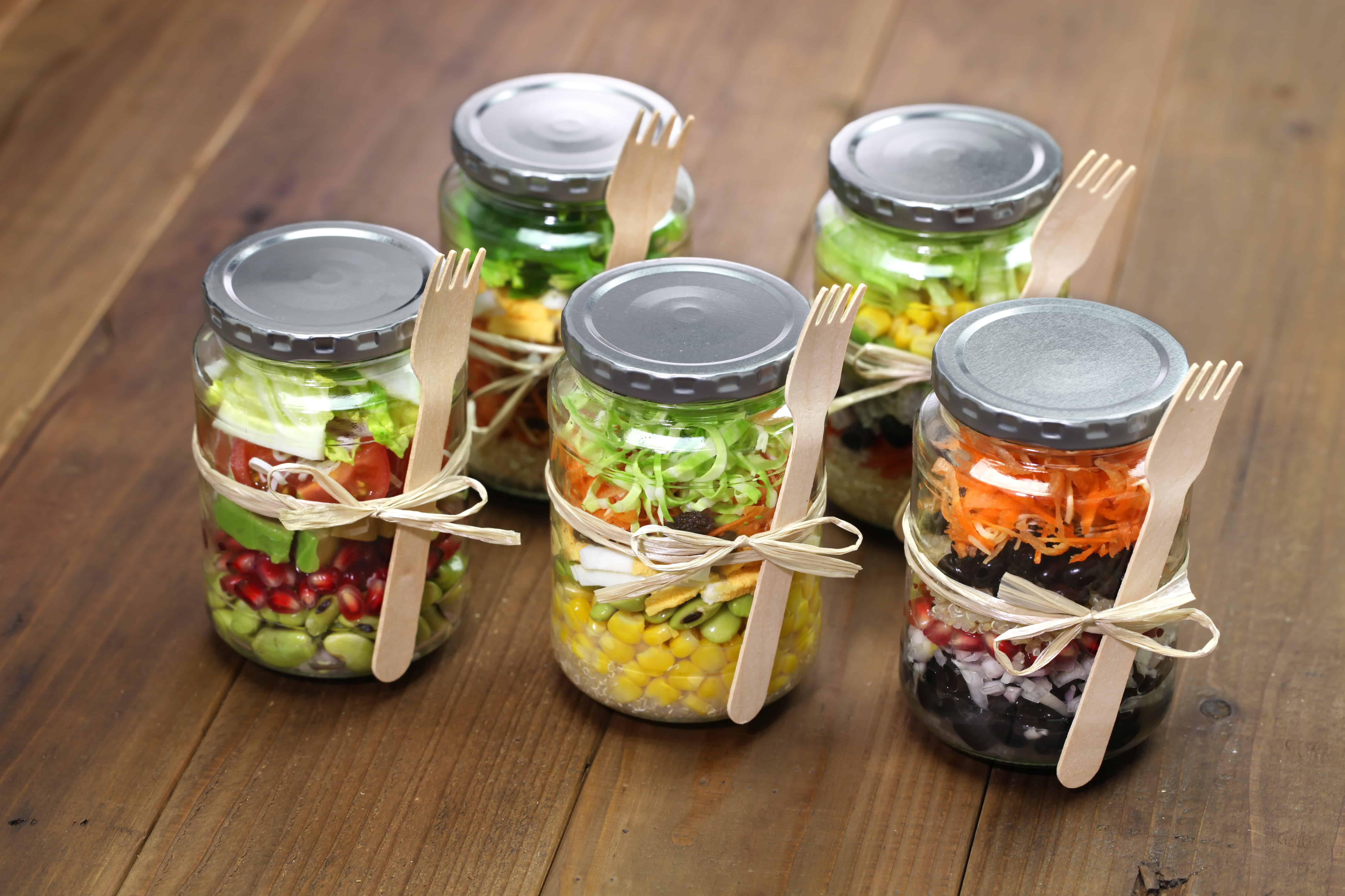 plant based mason jar meal prep