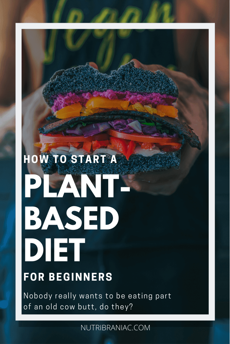 """Graphic image of a man wearing a vegan shirt holding a plant-based burger with text overlay, """"HOW TO START A PLANT-BASED DIET FOR BEGINNERS"""""""