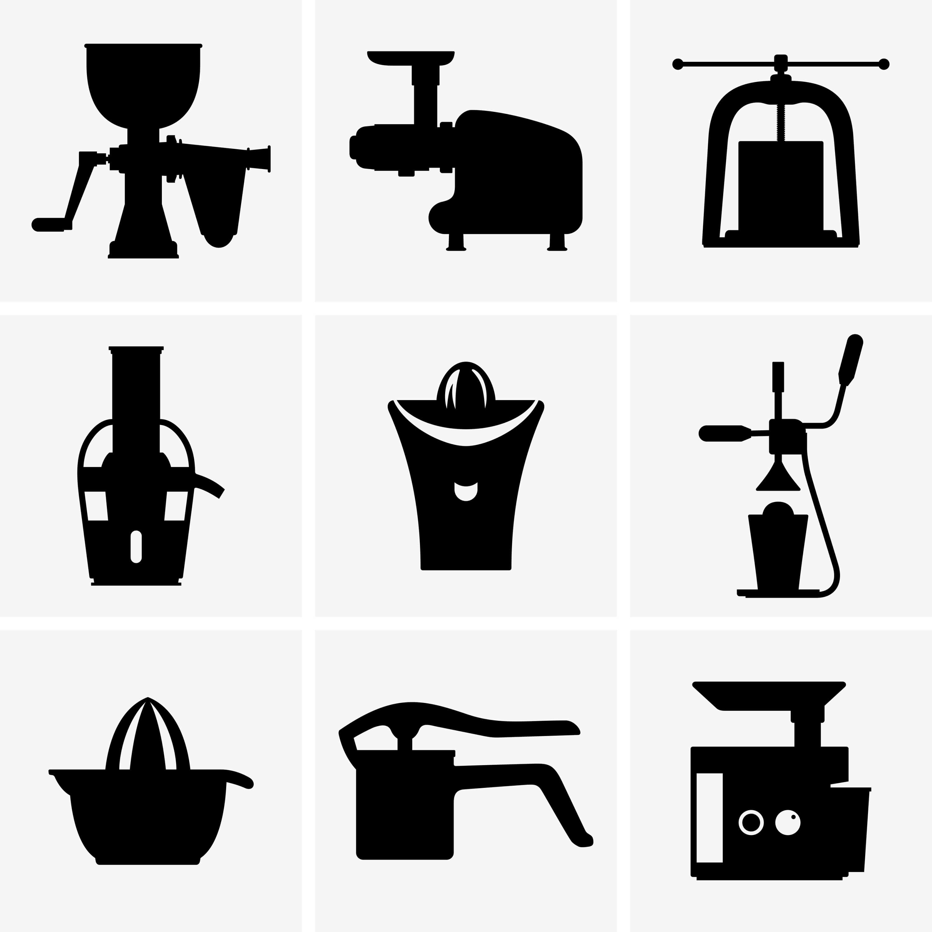 Black and white image of various juicers