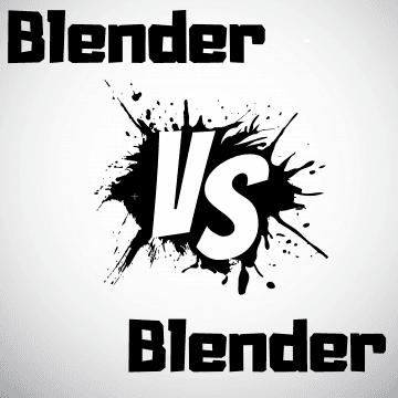 Black and white vector image stating Blender vs Blender
