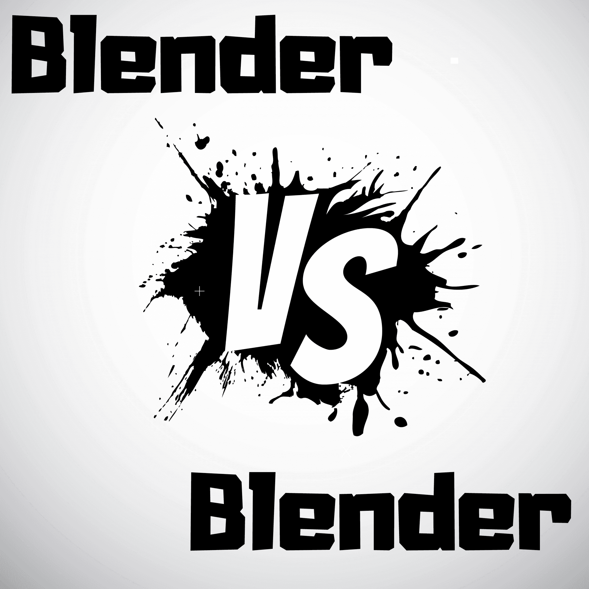 Black and white vector image stating Blender vs Blender