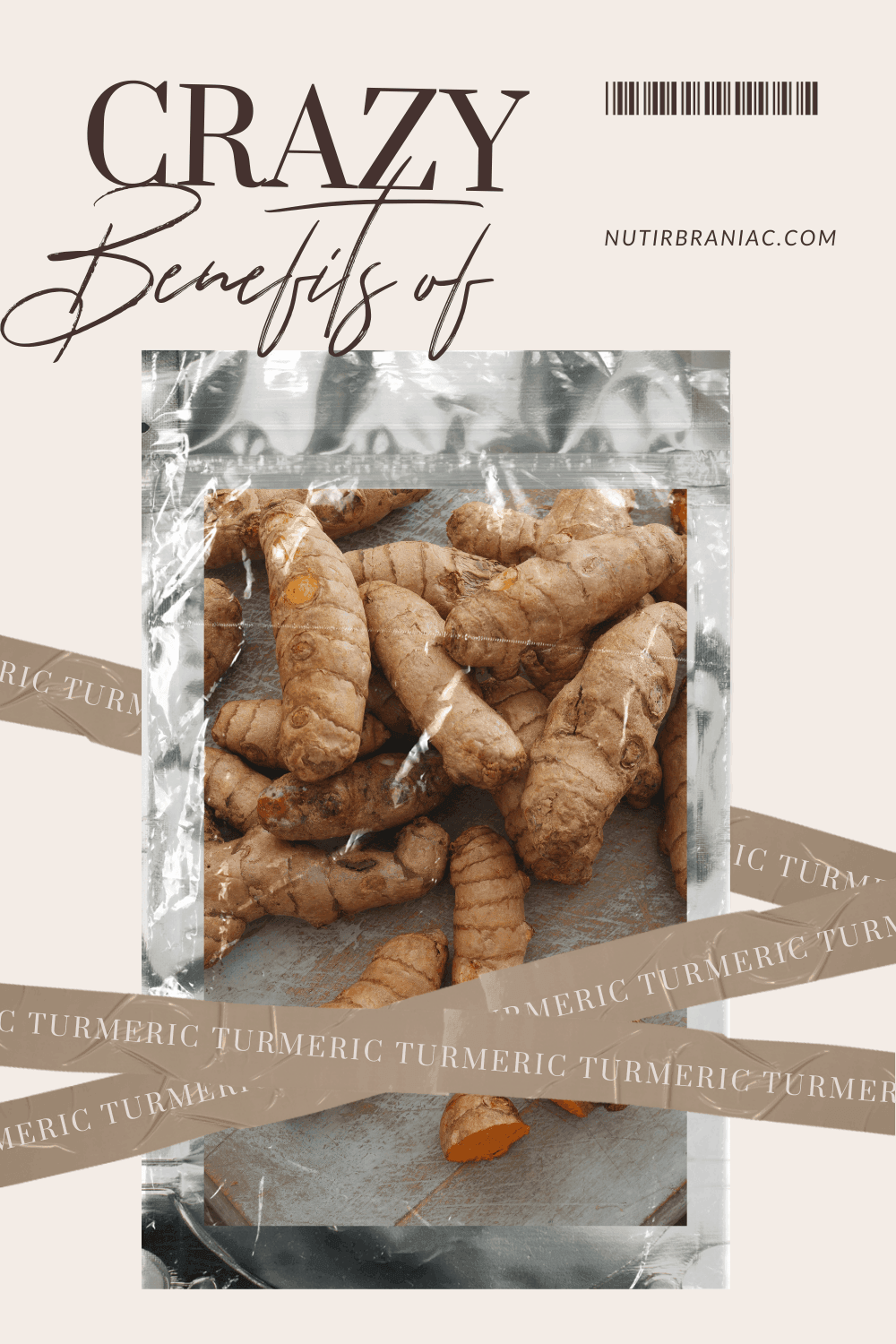 "Graphic image of a package of turmeric root with words, ""Crazy Benefits of Turmeric"""