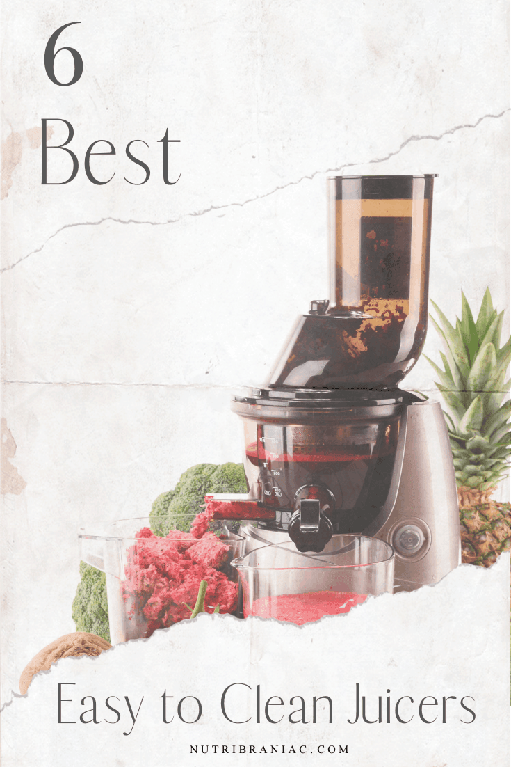 Cleaning a juicer doesn't have to be a pain. We searched for the best easy to clean juicers on the market. Check out our top 6 picks that can handle the messiest juicing recipes. Stop the upkeep and keep cleaning time to a minimum with these best juicers for easy cleaning. #juicingforbeginners #bestjuicermachines #easycleanjuicer #bestjuicertobuy #juicingforhealth #veganlifestyle #healthandwellness