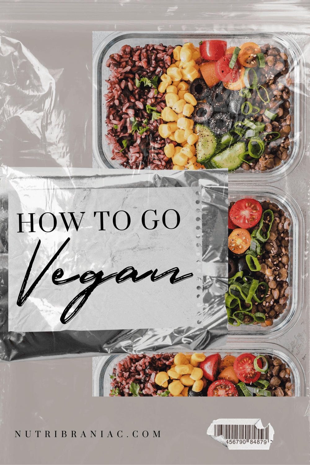 """image of plant-based meal prep, 3 glass containers of quinoa salad, with text overlay, """"How To Go Vegan"""""""