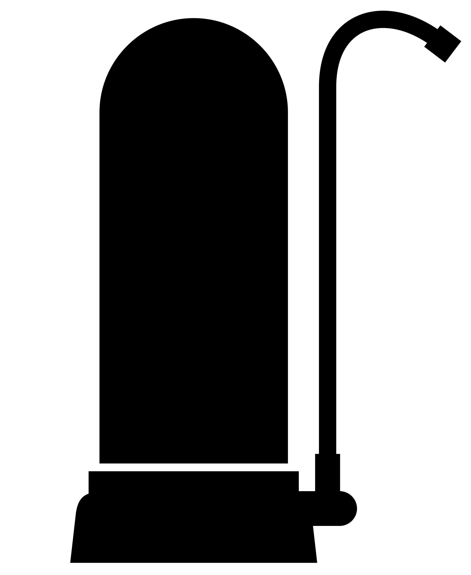Black and white vector image of a faucet with water filter