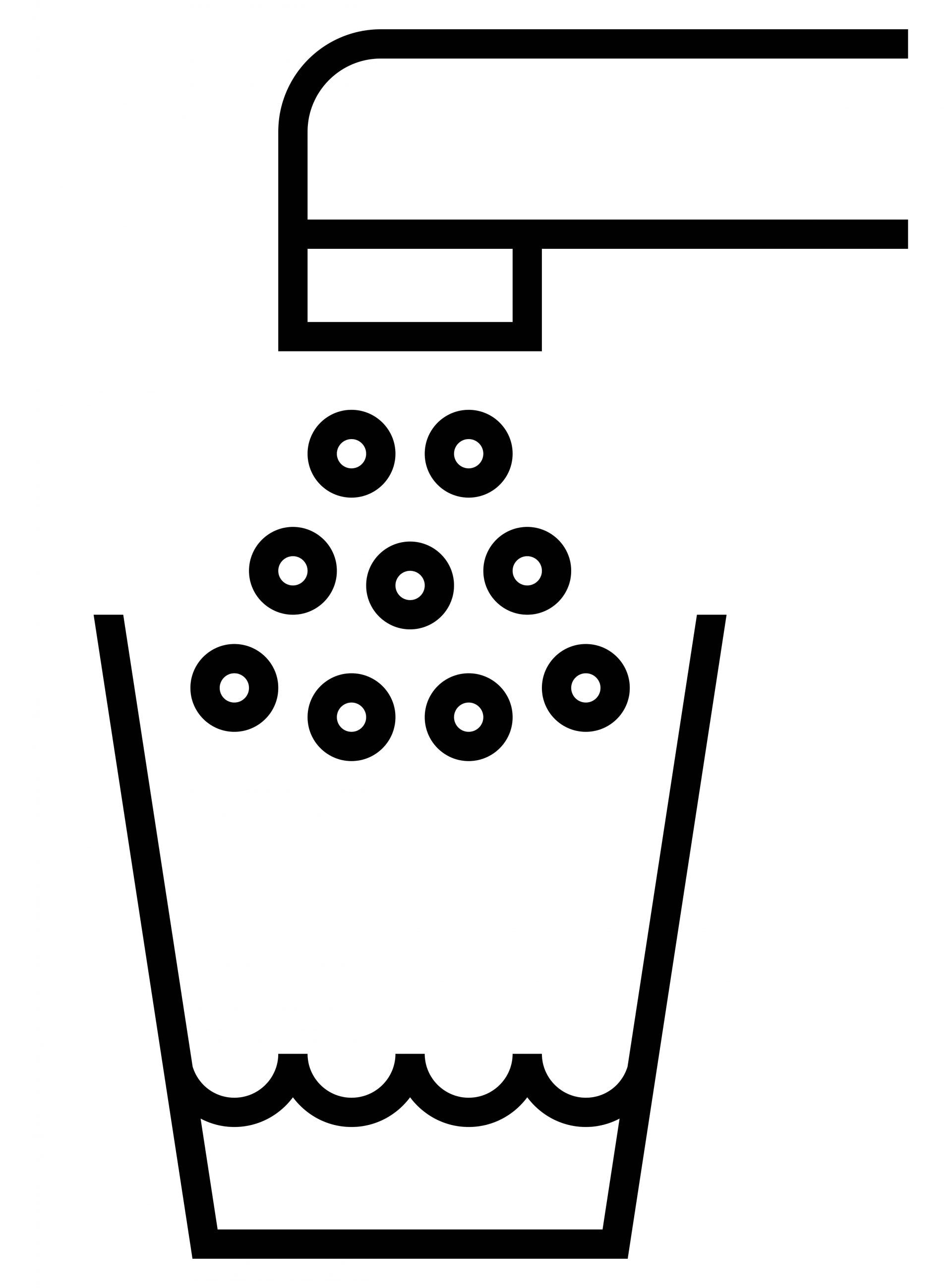Black outline vector sign of glass filling of water from tap