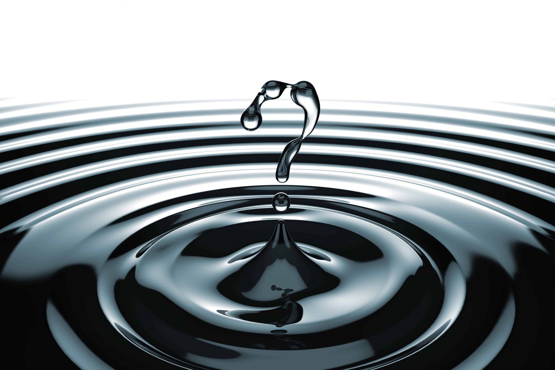 What symbol shaped water drops and splashing with waves. FAQ concept.