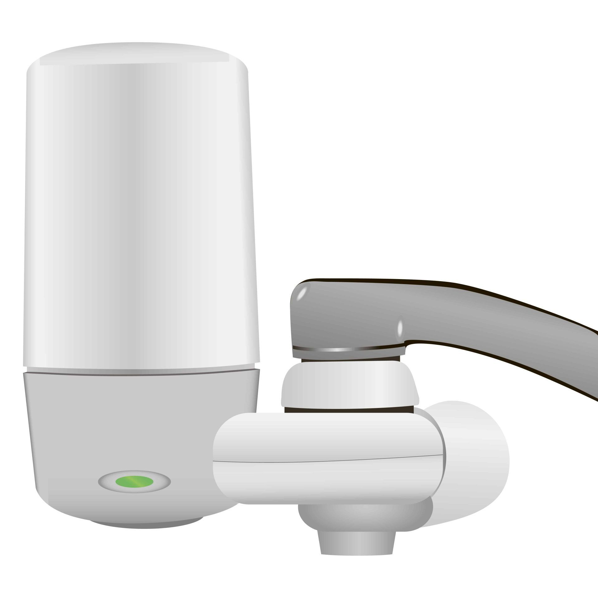 Household filter faucet connection system. Vector illustration.