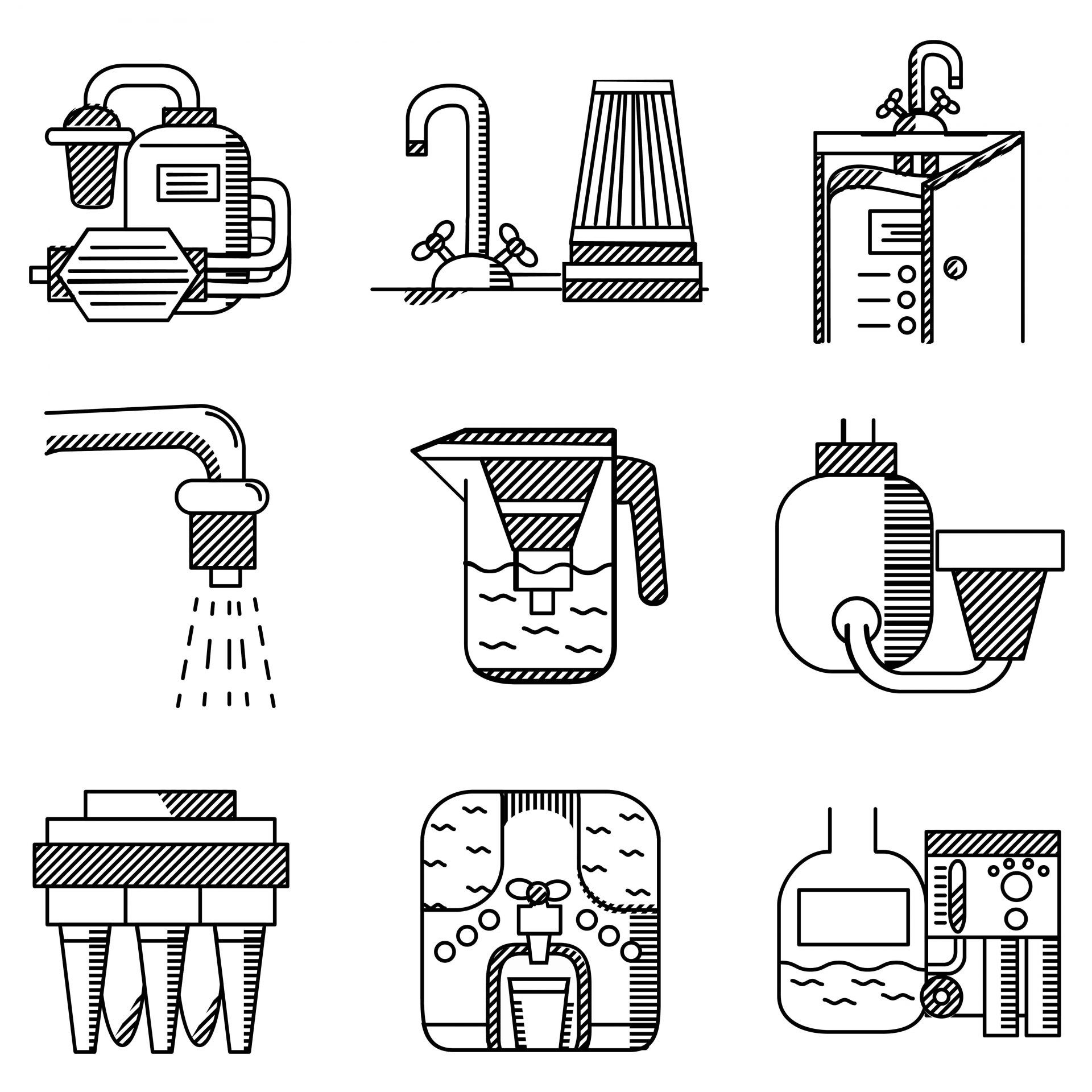 Black and white vector of various types of water filters