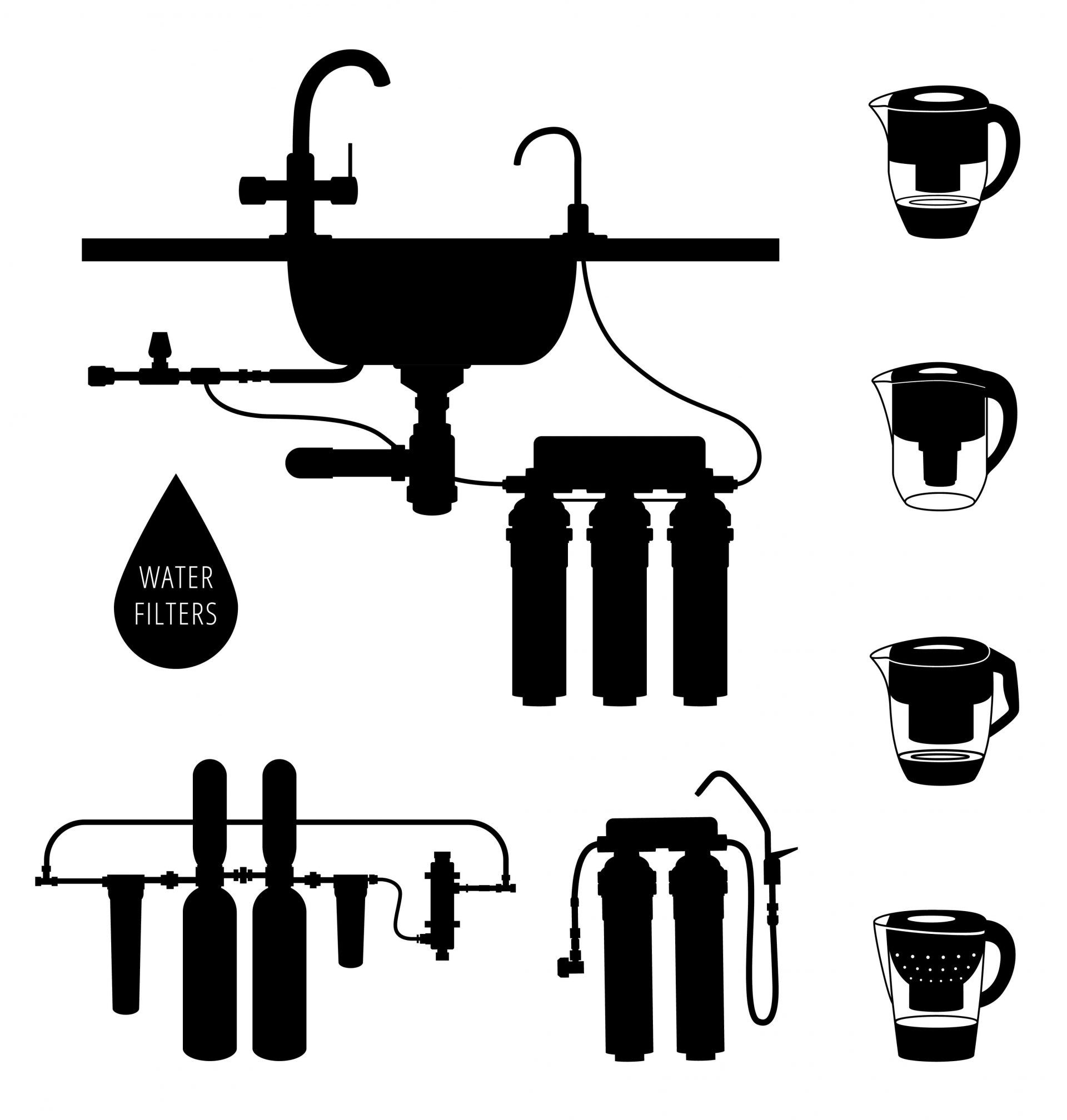 Various types of water filters black silhouette
