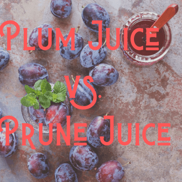 "plums on a marble table next to plum juice with words ""Plum Juice Vs. Prune Juice"" over image"