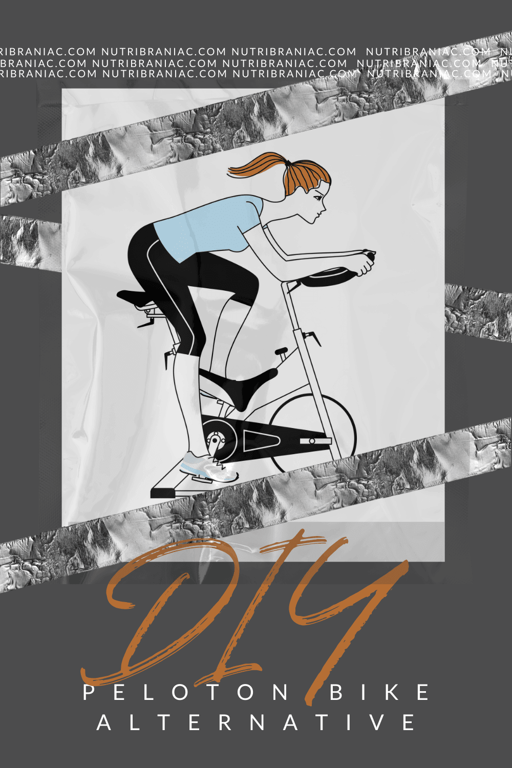 Drawing of a woman on a spin bike with text overlay: DIY Peloton Bike Alternative