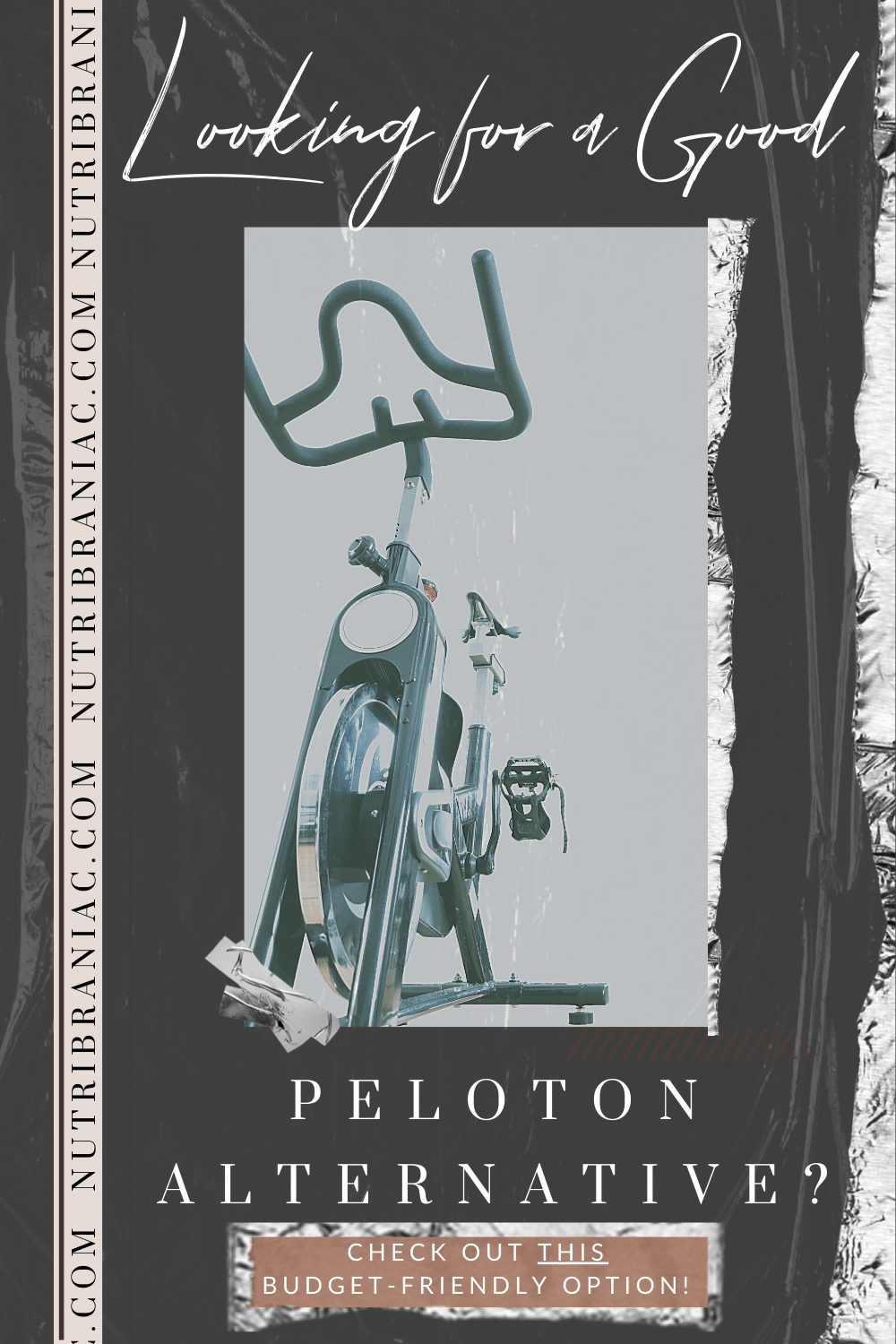 "Graphic image of a stationary bike with text overlay ""Looking for a Good Peloton Alternative?"""
