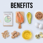 "Graphic image of ketogenic foods on a table with graphic overlay ""5 Surprising Benefits of the Keto Diet"""
