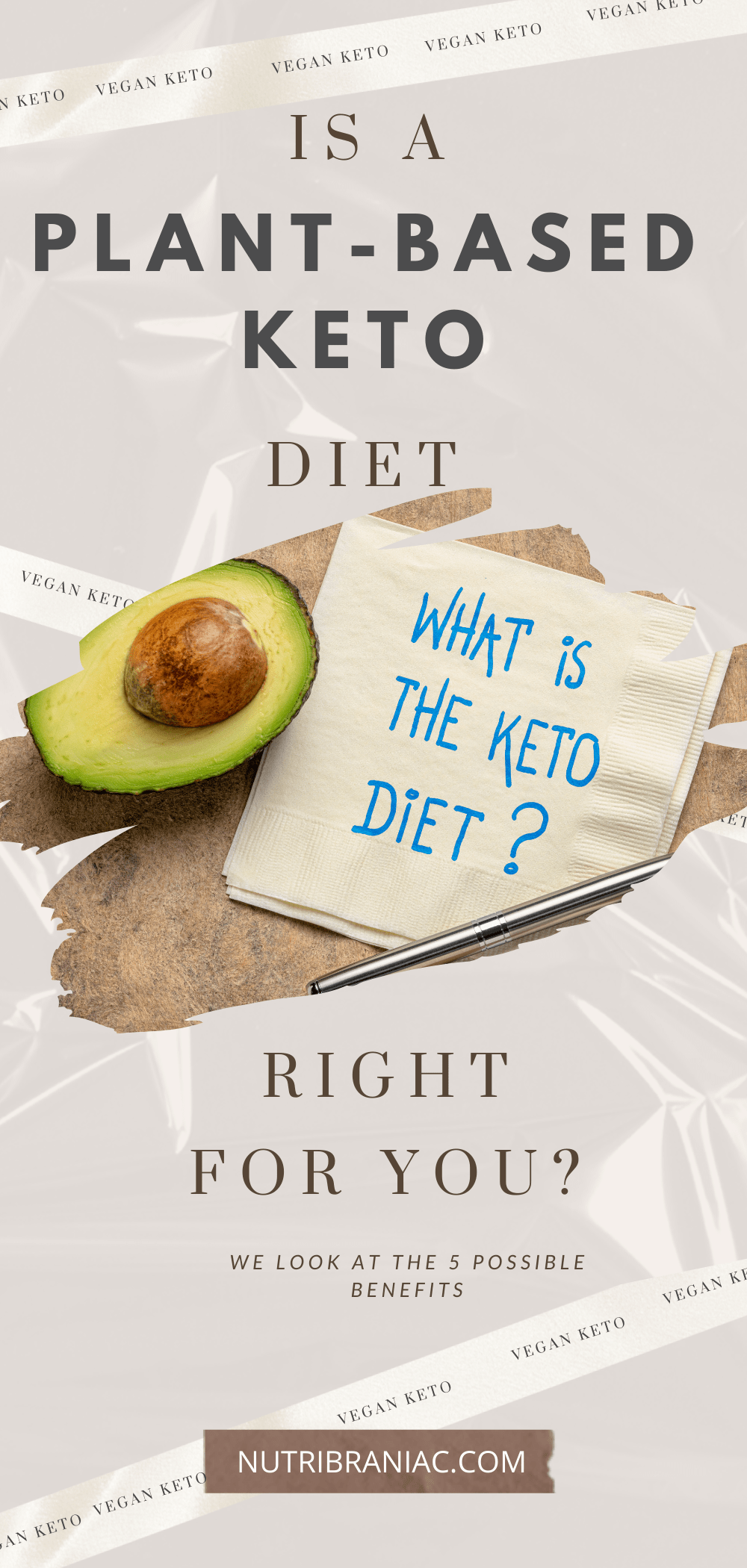 Graphic image of napkin on a table next to an avocado with words What is the Vegan Keto Diet
