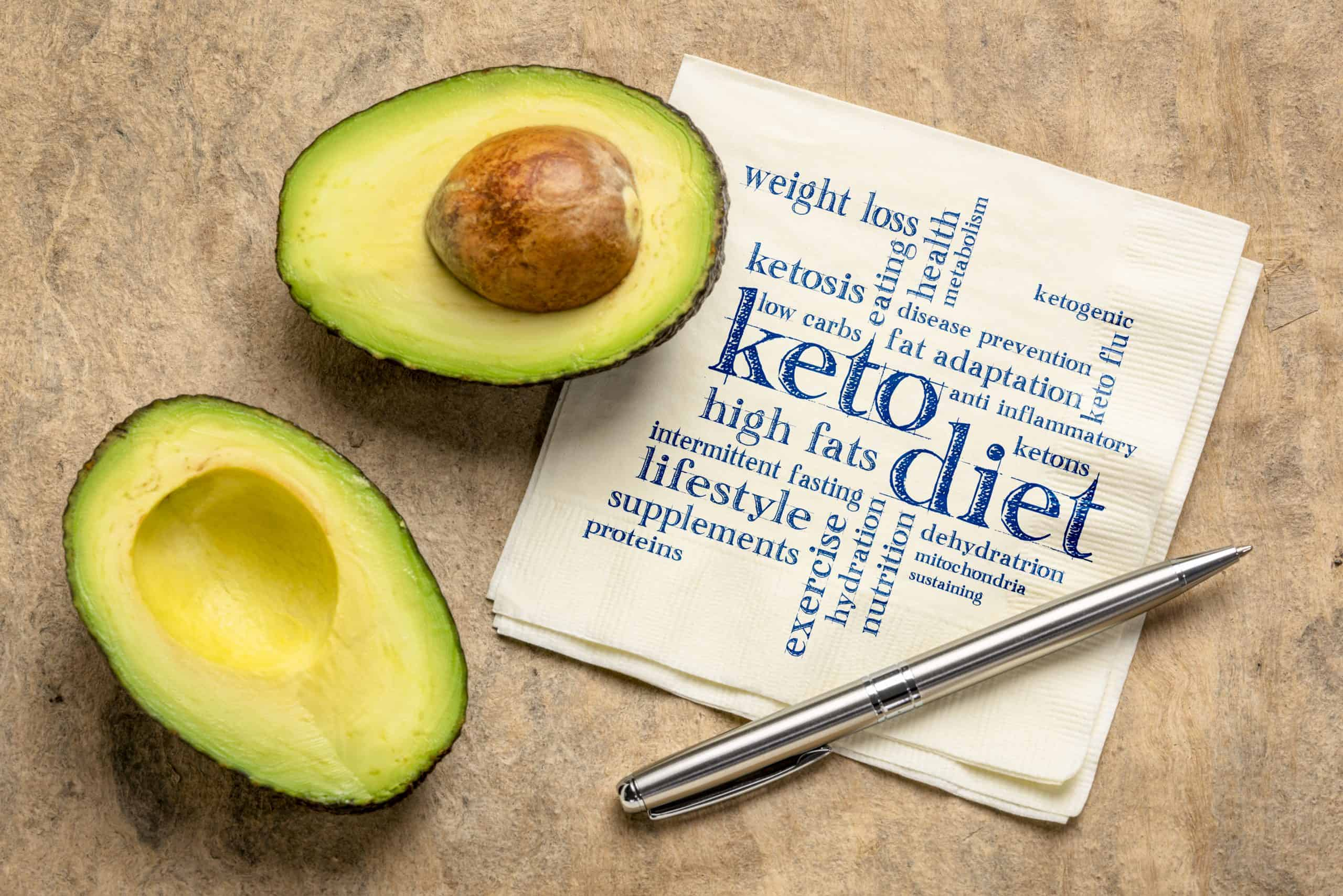 keto diet word cloud on napkin with a cut avocado on a table